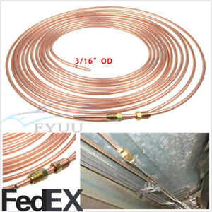Car Suv 25ft Copper Nickel 3 16 Od Brake Line Tubing With 16 Assort Fittings Nut