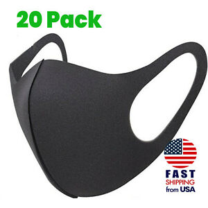 20 Pack Breathable Black Sponge Foam Mouth Face Mask Thin Lightweight Cover