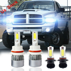 For 2003 2005 Dodge Ram 1500 2500 3500 4x 6000k Led Headlight Fog Light Bulbs