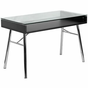 Rokus Brettford Tempered Glass Top Desk Black Medium