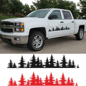 2x Pine Tree Forest Universal Car Vinyl Decal Sticker Mountains Coast Black Red