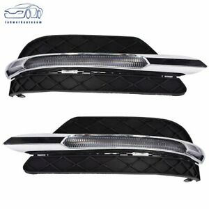 Pair Led Drl Fog Light Lamp Cover For Mercedes Benz C Class W204 C300 2011 2013