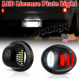 2pcs For 1990 2014 Ford F150 Red Neon Tube Led License Plate Tag Light Kit Lamp