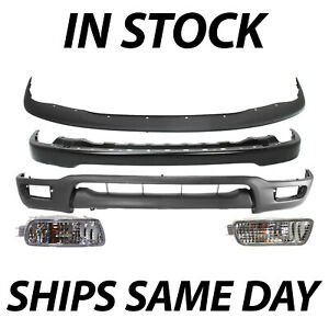 New Front Bumper Cover 5pc Combo Kit W Turn Lights For 2001 2004 Toyota Tacoma