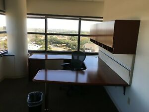 Beautiful Executive Table desk With Overhead Cabinet By Herman Miller