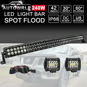 39 Led Light Bar 252w 9inch wiring Offroad Truck Suv Atv 4wd Rzr For Jeep 40