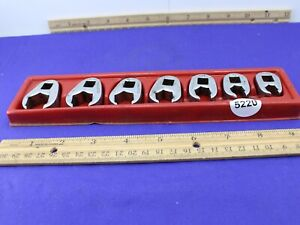 Snap On Frh Series 7 Piece Flare Nut Crowfoot Wrench Set 3 8 To 3 4 Good Cond