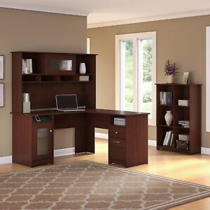 Copper Grove Daintree L shaped Hutch Desk With 6 cube Cherry Medium