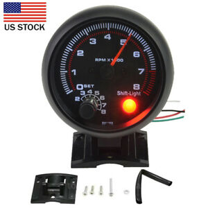 3 75 Universal Car Tachometer Gauge 8000 Rpm High Speed Led Shift Light 12v Usa