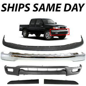New Chrome Front Bumper Cover Combo Kit W Fillers For 2001 2004 Toyota Tacoma