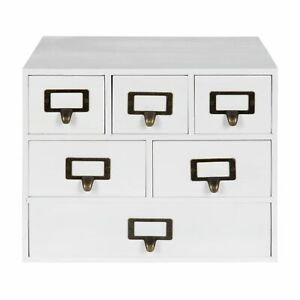 Kate And Laurel Apothecary Wood Desk Drawer Set With Letter White