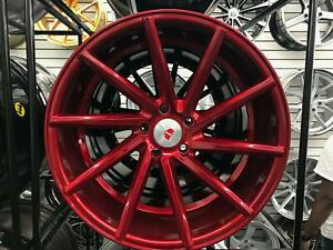 19x8 5 5x114 3 Et35 Cb73 1 Red Machined Face Red Clear Coat Set Of 4 Wheels