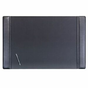 Dacasso Classic Black Leather Desk Pad 38x24 Black Patterned Modern