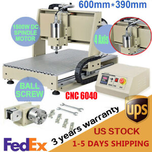 Usb 4 Axis 1500w Cnc 6040z Router Engraver 3d Wood Milling Drilling Machine Usa