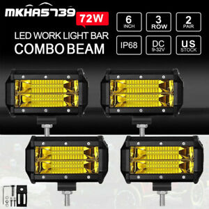 4x 5 288w Led Work Light Bar Spot Flood Pods For Jeep Truck Offroad Amber Lamp