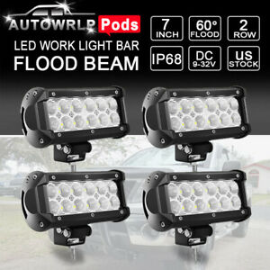 4x 7inch Led Work Light Bar Pods Flood Beam Fog Lamp Offroad Driving Truck 6