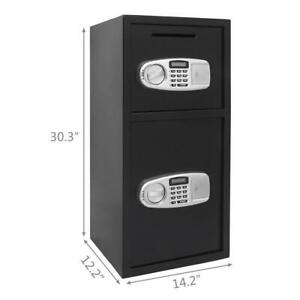 Double Digital Combination Lock Home Security Depository Cash Money Safe Box