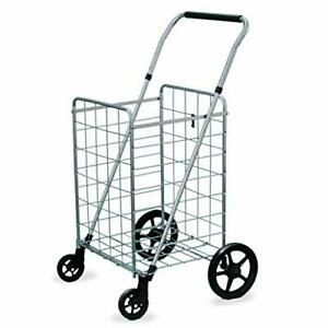 Wellmax Grocery Shopping Cart With Swivel Wheels Foldable And Collapsible