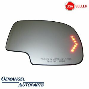 For 2003 2007 Chevy Gmc Cadillac Mirror Glass Heated Turn Signal Passenger Side