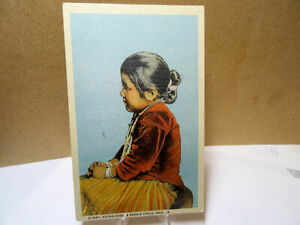Linen Postcard Zuyah Chee A Navajo Child Arizona $3.75