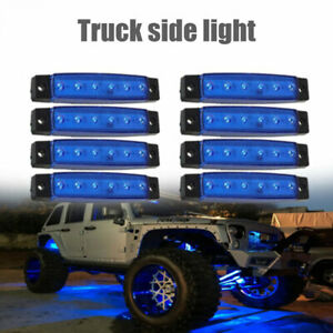 Blue 8 Pods Led Rock Lights Underbody Light For Jeep Offroad Truck Utv Atv Boat