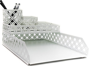 Blu Monaco White Desk Organizer 5 Piece Interlocking Desk Accessories Set Pa