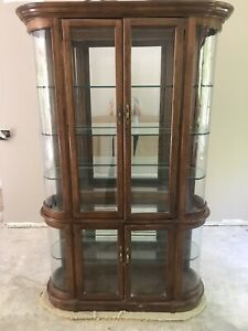 Vintage China Cabinet Display Case Mirrored Solid Wood Lights Midcentury Antique