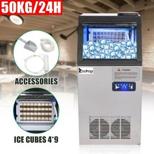 110lbs 50kg Commercial Ice Maker Stainless Steel Restaurant Ice Cube Machine