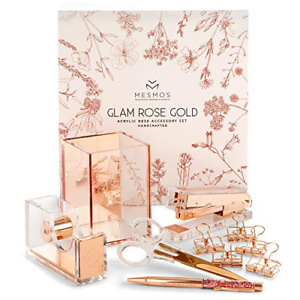 Office Supplies Set For Women Rose Gold Stylish 10 Piece Desk Kit Ergonomic New
