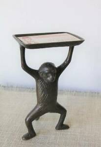 Brass Standing Monkey Clever Business Card Holder Soap Dish Trinket Tray