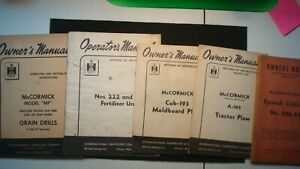 Lot Of 5 Vintage Ih Mccormick Owners Parts Manuals Tractor Plow