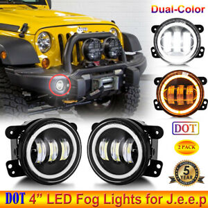 Pair 4 Dot Led Fog Lights Dual Colors Halo Angel Eye For Jeep Wrangler Compass