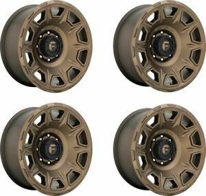 Set 4 20 Fuel D687 Vengeance 20x10 Matte Bronze 8x6 5 Wheels 18mm Truck Rims