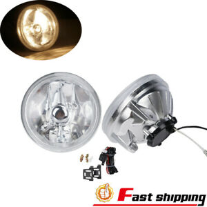 Universal 4 Clear Lens Fog Light Lamps Round Chrome Housing Switch Relay Bulbs