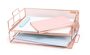 2 Tier Letter Tray Rose Gold Desk Organizer For Women Stackable Paper Tray New
