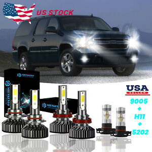Combo Led Headlights Fog Light Bulbs 6000k For Chevy Suburban Tahoe 2007 2014