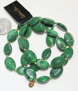 Signed COOKIE LEE Set 3 Oval Green Marbled Acrylic Stretch Bracelets NEW $28.00 $11.88