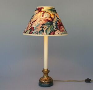 Vintage Hollywood Regency Candlestick Lamp Marble Base With Floral Shade