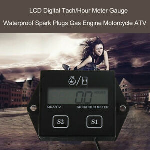 Lcd Digital Tach Hour Meter For 2 4 Stroke Gas Engine Motorcycle Atv Boat L4l8