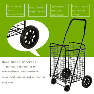 Utility Shopping Cart Foldable Jumbo Basket Outdoor Grocery Laundry Wheels Cart