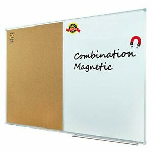 Lockways Magnetic Dry Erase Board And Cork Bulletin Board 36 X 24 Inch silver
