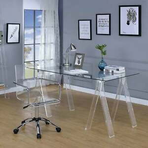 Amaturo Clear Acrylic Sawhorse Writing Desk Clear 59 X 31 50 X 30