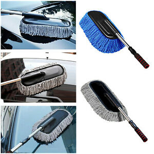 Microfiber Car Wash Mop Cleaner Brush Telescoping Auto Dust Wax Cleaning Tool