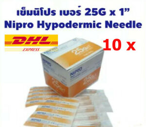 10 X Nipro Sterile Hypodermic Needle Thin Wall Sterile 0 5x25mm Lab Dhl Express