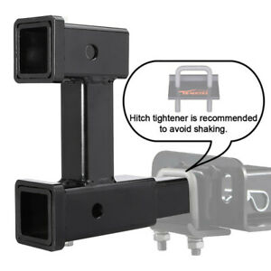 2 Dual Trailer Hitch Receiver Rise drop Adapter Extender Extension Tow Us