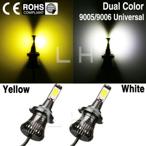 9005 9006 Light 2x Led Bulb Dual Color Kit For Fog Light Car Cob Whiteyellow