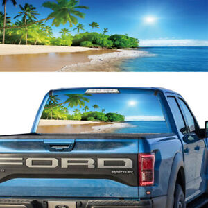 Rear Window Tint Graphic Decal Tropical Exotic Beach