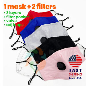 Black blue red pink gray Cotton Mask Breathing Respirator Valve Pm2 5 Filters