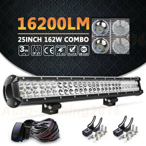 25 162w Led Work Light Bar wiring Kit Combo Suv Offroad Truck Driving 23 22 26