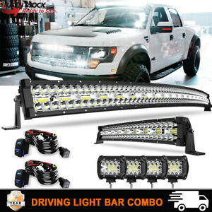 Curved 50 22 Inch Led Light Bar pods Offroad Driving Truck Rzr Suv 4wd 52 20